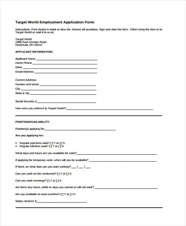 printable target job application form