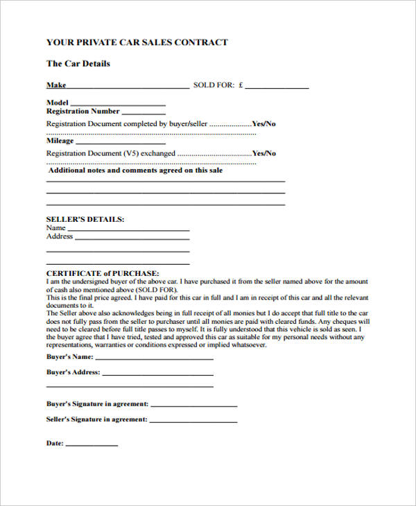 private car sales agreement form