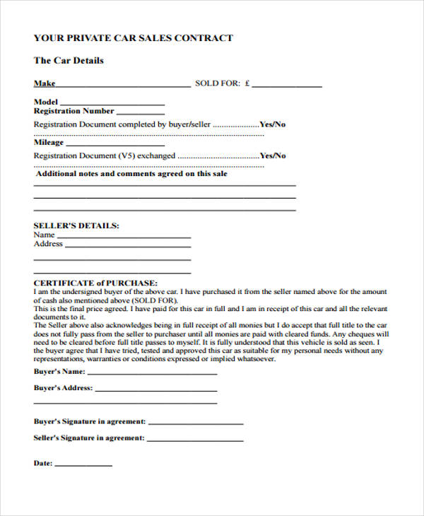 private car sales agreement form1
