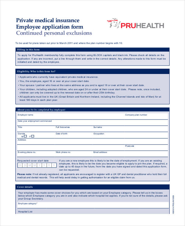 private medical insurance employee application form
