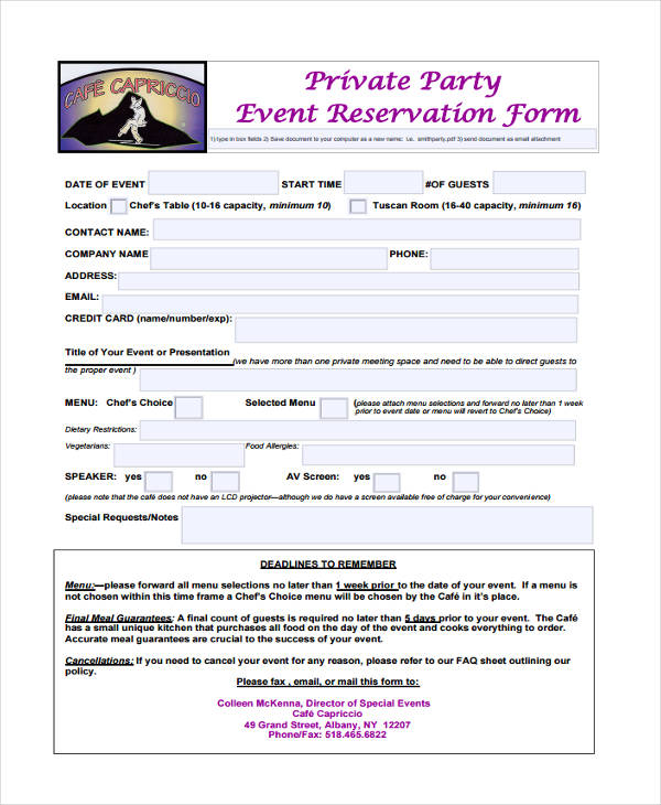 Sample Party Reservation Form   Free Documents In Pdffree
