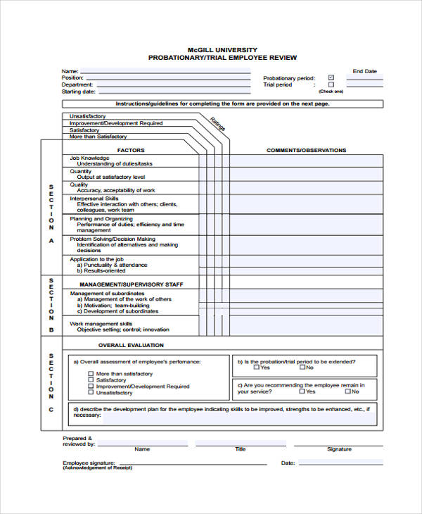 probationary trial employee review form