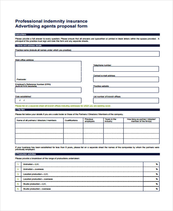 professional advertising proposal form