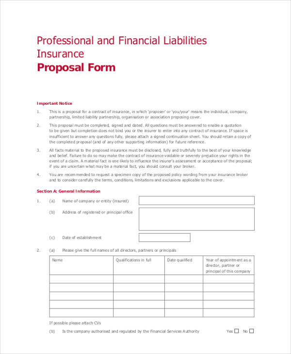 professional financial liabilities