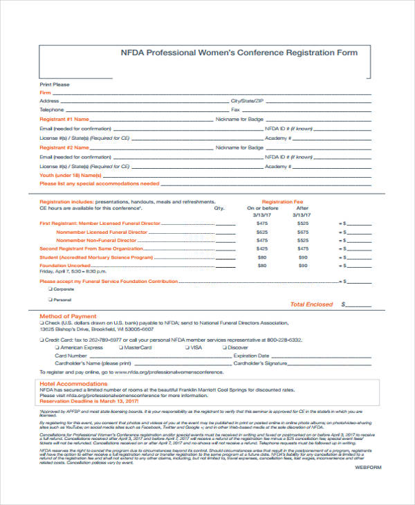 professional womens conference registration form