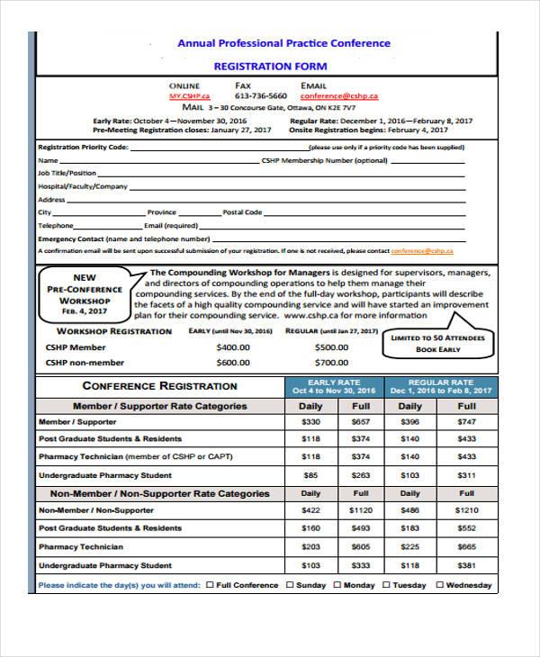 professional practice conference registration form