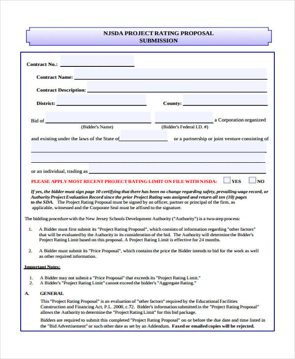 project advertising proposal form