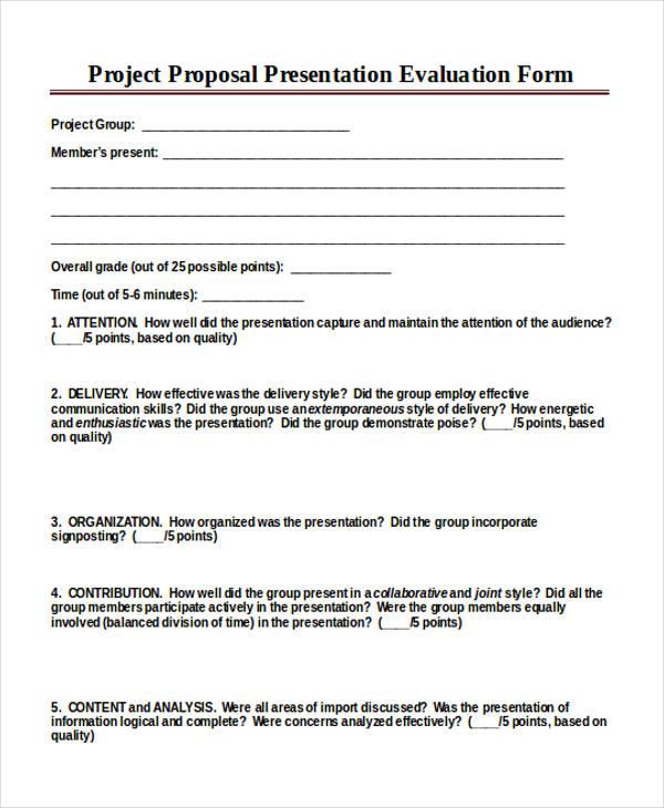 project proposal presentation form