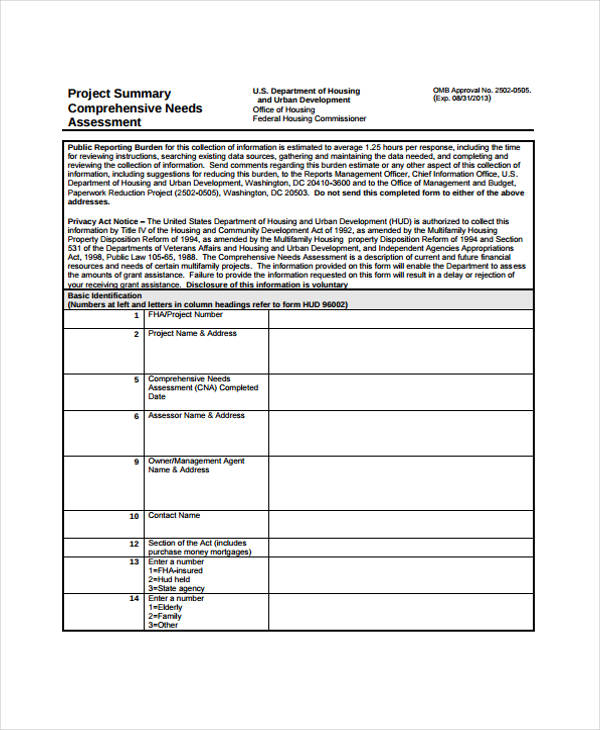 project summary comprehensive needs assessment form