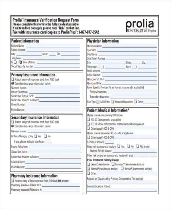 prolia insurance verification request form1