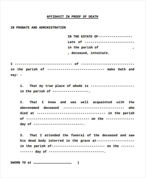 proof of funeral attendance 9  Affidavit of Death Forms - Free Sample, Example, Format Download