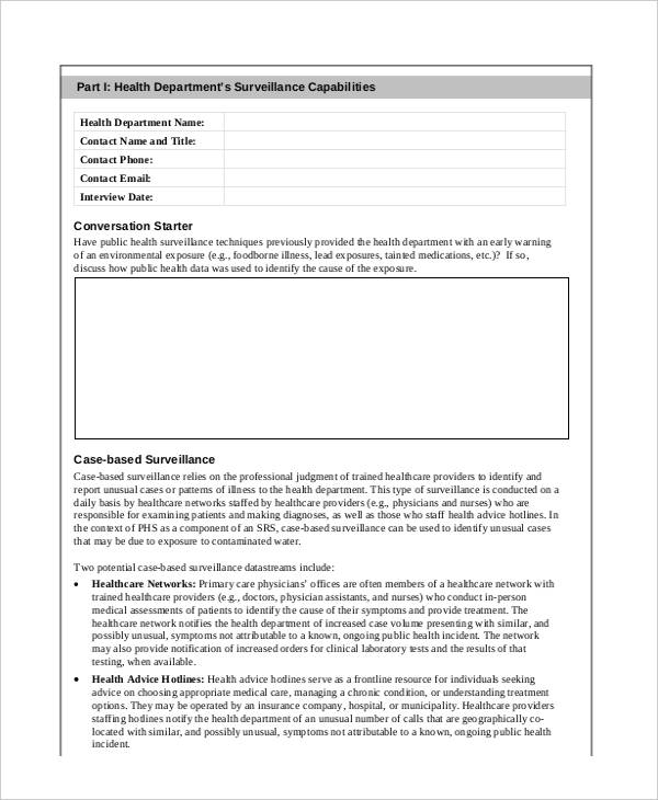public health surveillance assessment