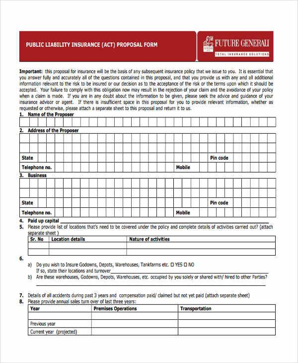 public liability insurance form