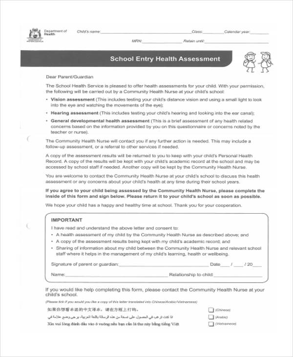 public school health assessment form