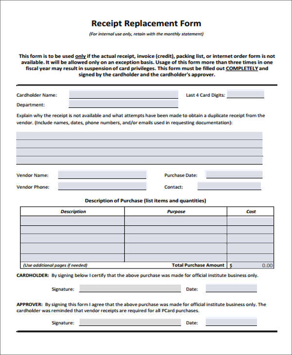 purchase replacement form