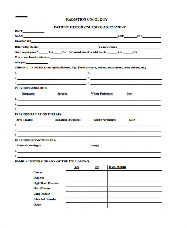 radiation nursing patient assessment form