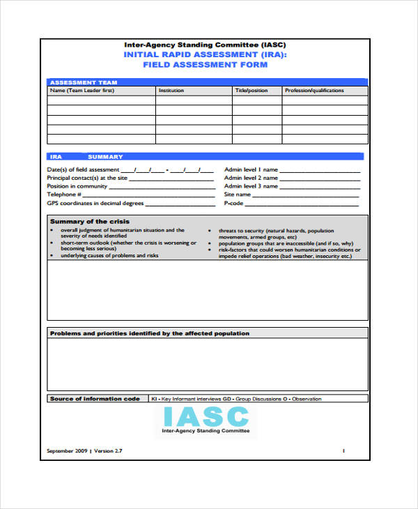rapid needs assessment form
