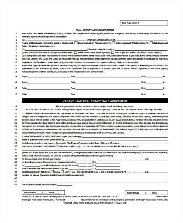 raw land sales agreement form