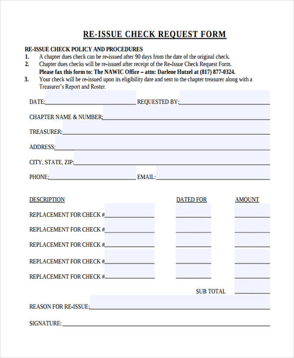 Re Issue Check Request Form