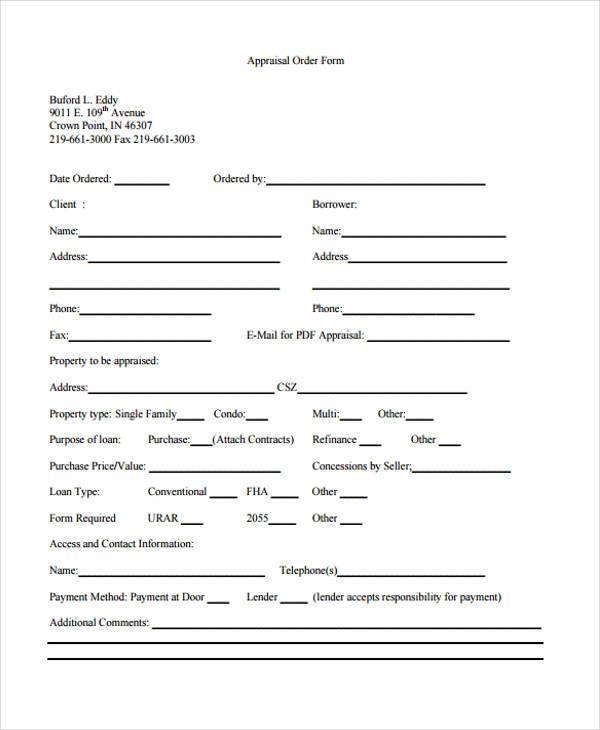 Blank Appraisal Order Form