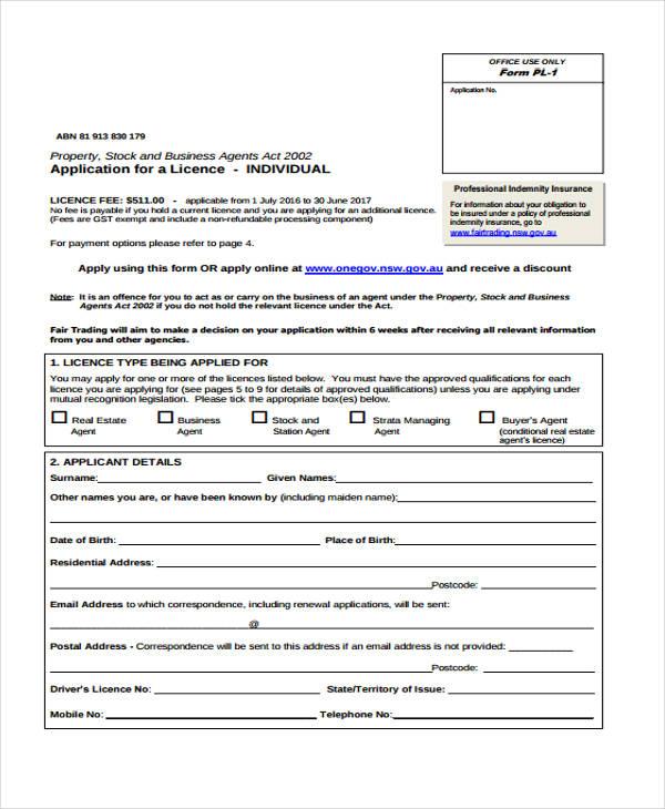 real estate customer application form