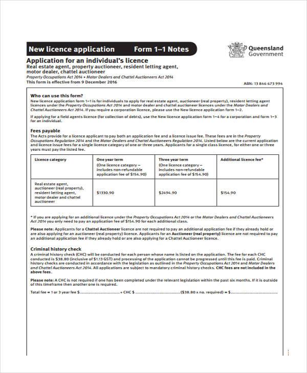 real estate licence application form