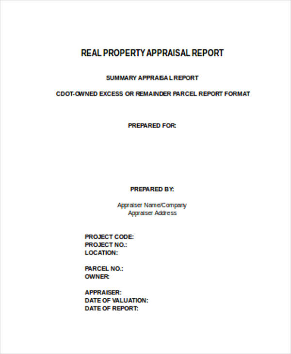 Sample Property Appraisal Form   Documents In Word Pdf