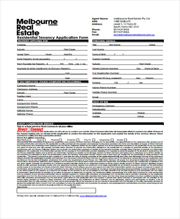 real estate rent application form