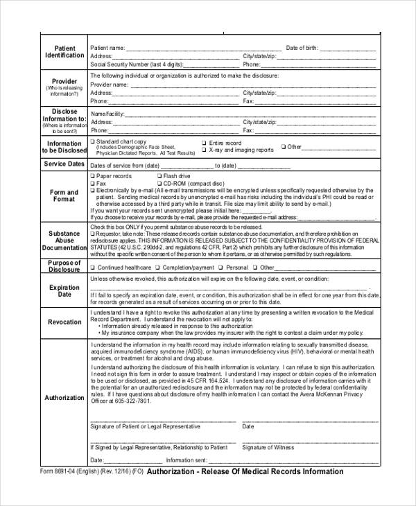 records information form