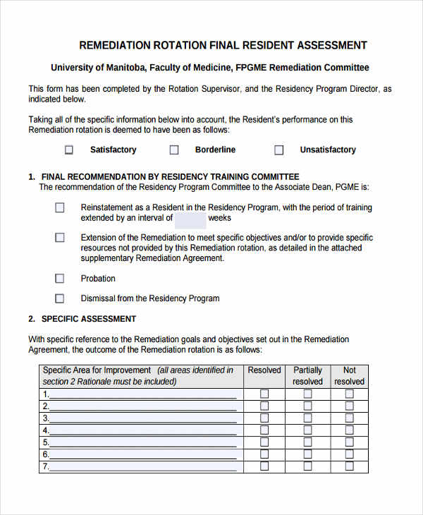 remediation counseling assessment form