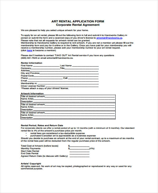 rental agreement contract application form