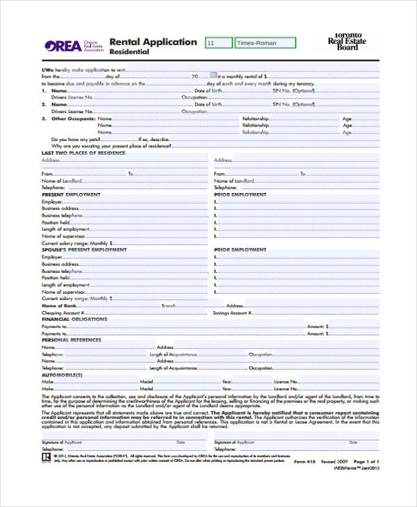 rental lease agreement application form