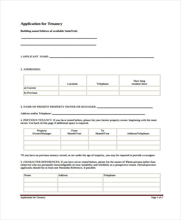 rental property credit application form1