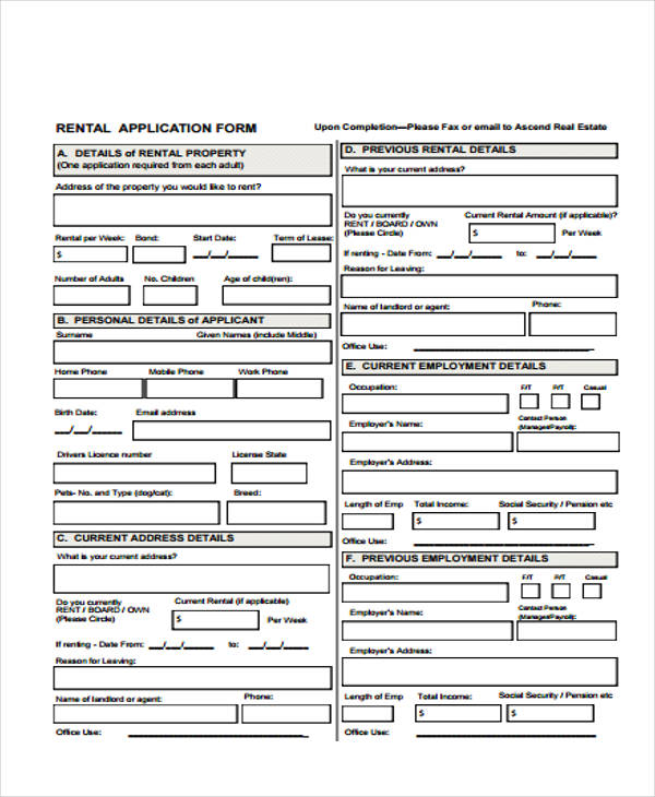Free Rental Application Forms
