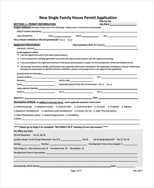 residential construction application form