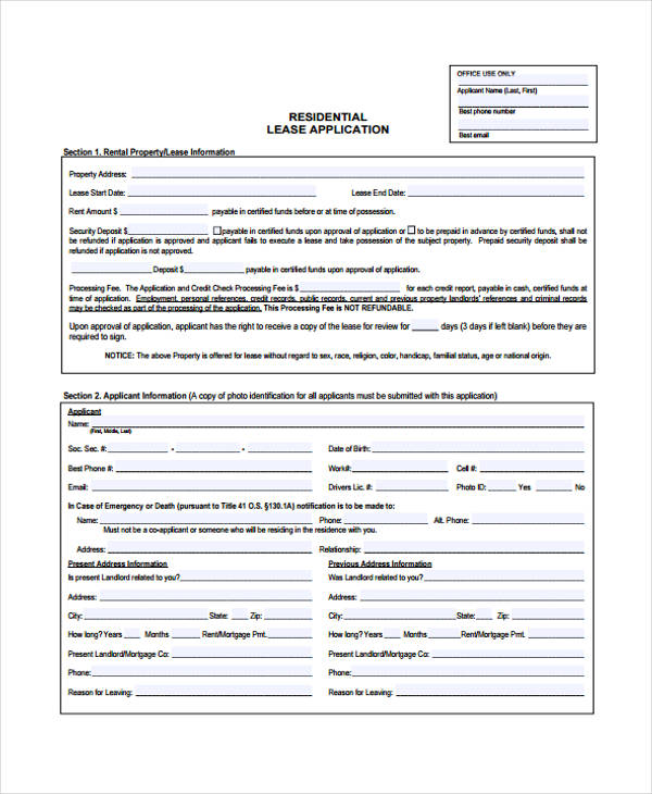 residential lease application form example