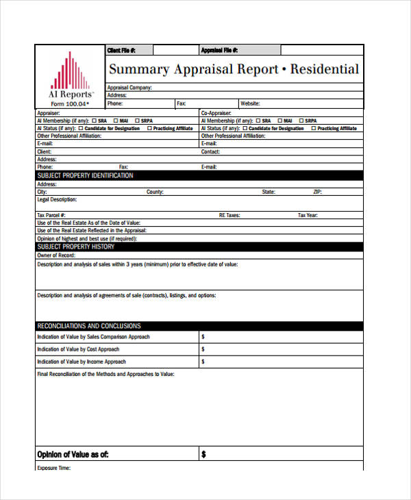 residential real estate appraisal form