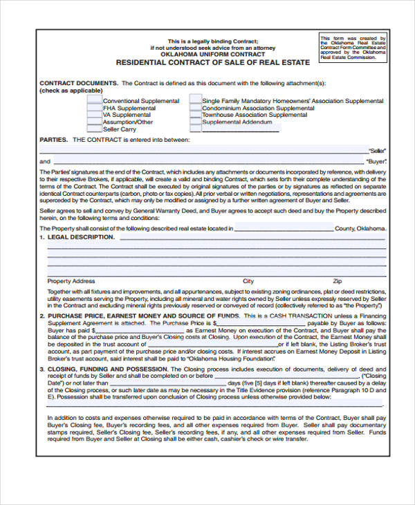 residential real estate sales agreement form1