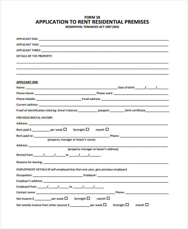 Sample Rent Application Form  Free Sample Example Format