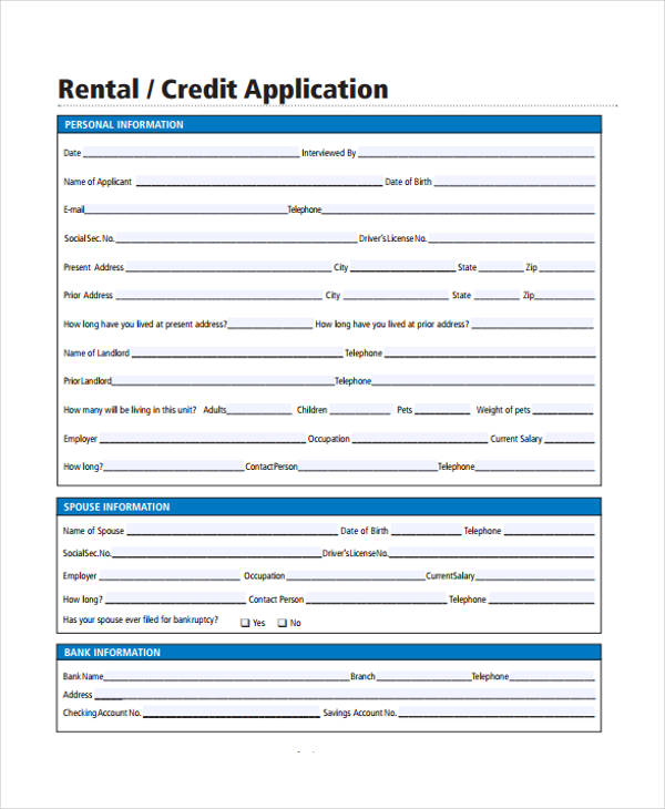 residential rental credit application form