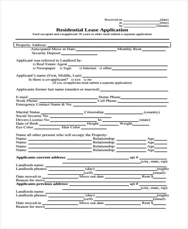 residential rental lease application form