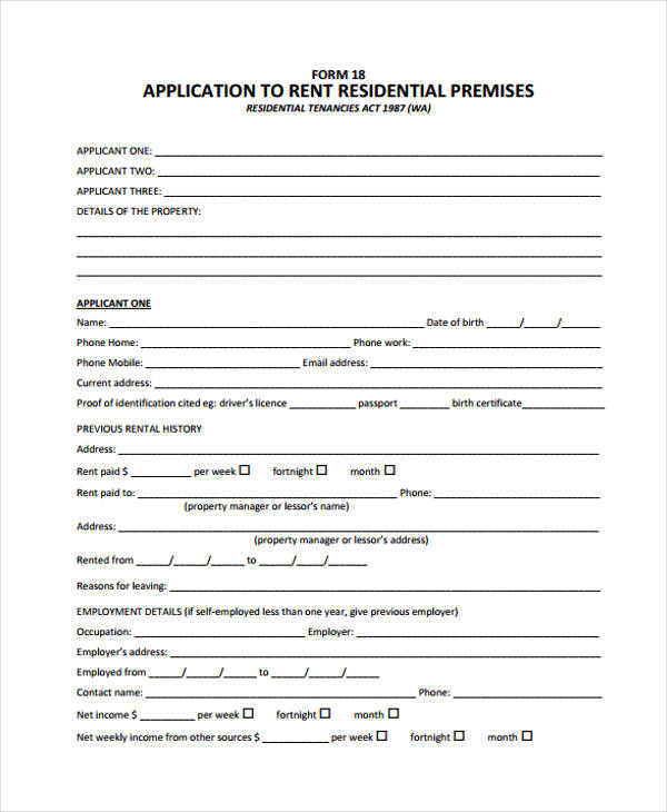 residential rental property application form