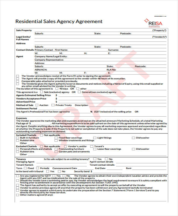 residential sales agency agreement form