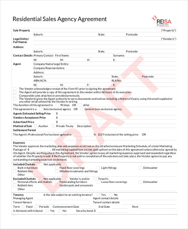 residential sales agency agreement form2