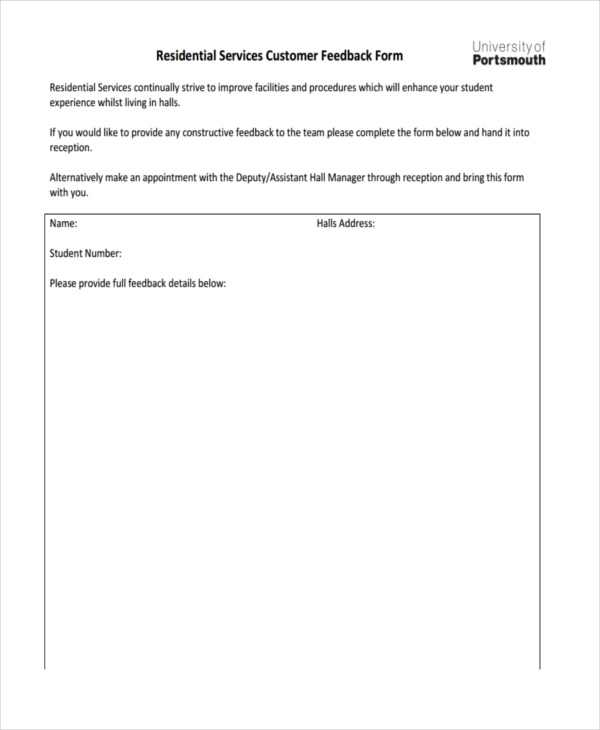 residential services customer feedback form
