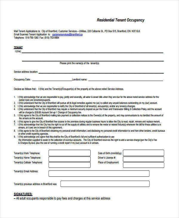 residential tenant information