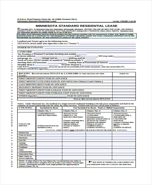 residential tenant lease application form