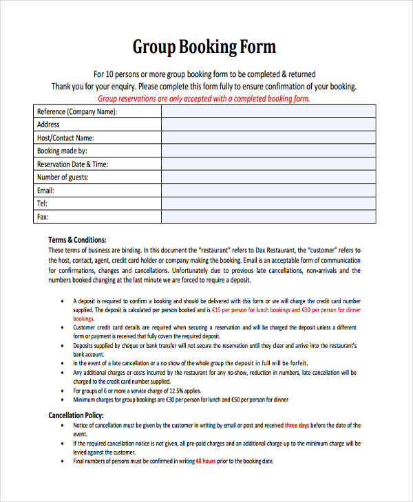 Restaurant Reservation Form Samples  Free Sample Example