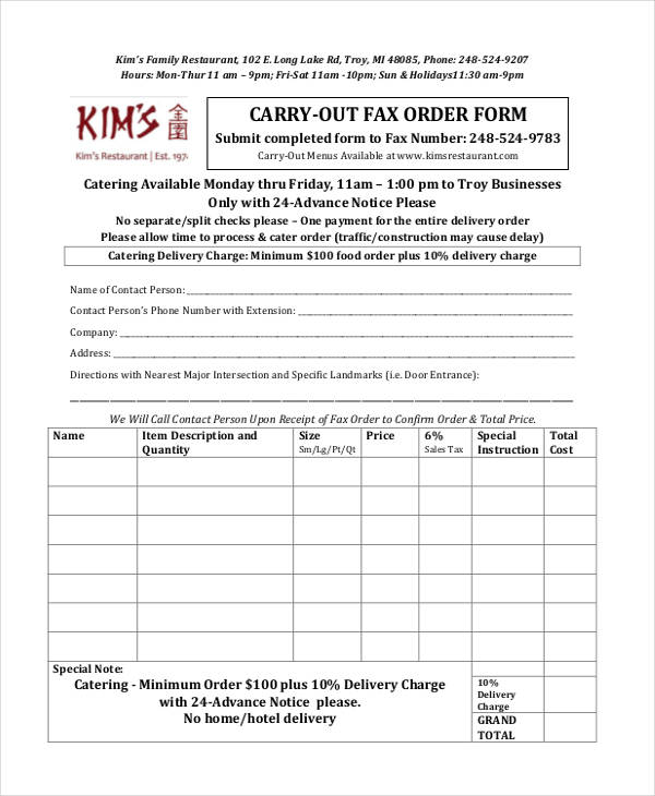 Restaurant Order Form Sample  Free Sample Example Format Download