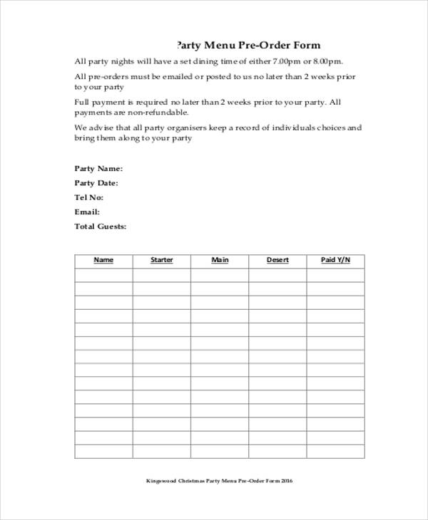 free 11 restaurant order form samples in sample example. Black Bedroom Furniture Sets. Home Design Ideas
